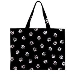 Footprints Dog White Black Zipper Mini Tote Bag by EDDArt