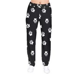 Footprints Dog White Black Drawstring Pants by EDDArt