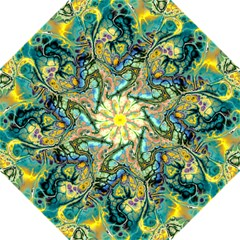 Flower Power Fractal Batik Teal Yellow Blue Salmon Straight Umbrellas by EDDArt