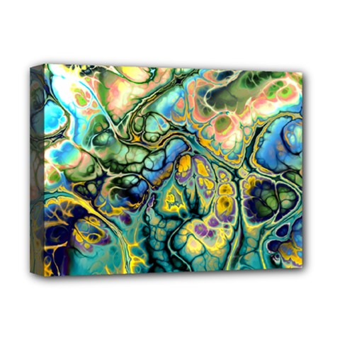 Flower Power Fractal Batik Teal Yellow Blue Salmon Deluxe Canvas 16  X 12   by EDDArt