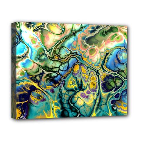 Flower Power Fractal Batik Teal Yellow Blue Salmon Deluxe Canvas 20  X 16   by EDDArt