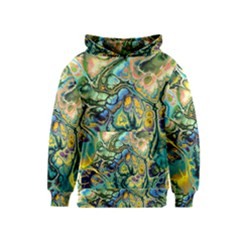Flower Power Fractal Batik Teal Yellow Blue Salmon Kids  Pullover Hoodie by EDDArt