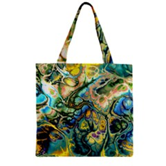 Flower Power Fractal Batik Teal Yellow Blue Salmon Zipper Grocery Tote Bag by EDDArt