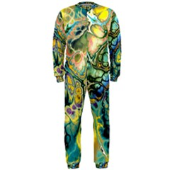 Flower Power Fractal Batik Teal Yellow Blue Salmon Onepiece Jumpsuit (men)  by EDDArt
