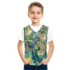 Flower Power Fractal Batik Teal Yellow Blue Salmon Kids  Sportswear by EDDArt