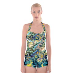 Flower Power Fractal Batik Teal Yellow Blue Salmon Boyleg Halter Swimsuit  by EDDArt