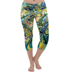 Flower Power Fractal Batik Teal Yellow Blue Salmon Capri Yoga Leggings by EDDArt