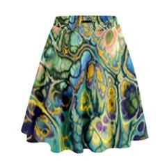 Flower Power Fractal Batik Teal Yellow Blue Salmon High Waist Skirt by EDDArt