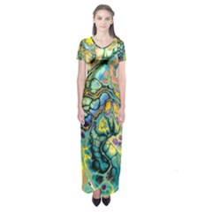 Flower Power Fractal Batik Teal Yellow Blue Salmon Short Sleeve Maxi Dress by EDDArt