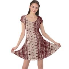 Wrinkly Batik Pattern Brown Beige Cap Sleeve Dresses by EDDArt