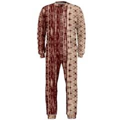 Wrinkly Batik Pattern Brown Beige Onepiece Jumpsuit (men)  by EDDArt