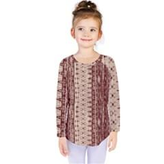 Wrinkly Batik Pattern Brown Beige Kids  Long Sleeve Tee by EDDArt