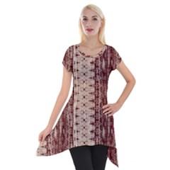 Wrinkly Batik Pattern Brown Beige Short Sleeve Side Drop Tunic by EDDArt