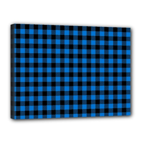 Lumberjack Fabric Pattern Blue Black Canvas 16  X 12  by EDDArt