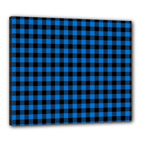 Lumberjack Fabric Pattern Blue Black Canvas 24  X 20  by EDDArt