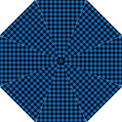Lumberjack Fabric Pattern Blue Black Folding Umbrellas by EDDArt