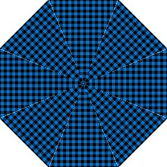 Lumberjack Fabric Pattern Blue Black Straight Umbrellas by EDDArt