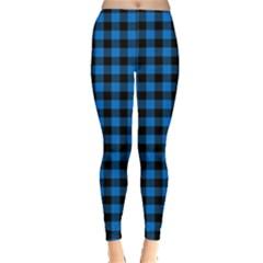 Lumberjack Fabric Pattern Blue Black Leggings  by EDDArt
