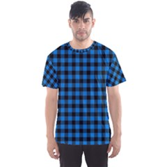 Lumberjack Fabric Pattern Blue Black Men s Sport Mesh Tee by EDDArt