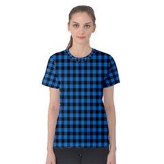 Lumberjack Fabric Pattern Blue Black Women s Cotton Tee by EDDArt