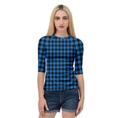 Lumberjack Fabric Pattern Blue Black Quarter Sleeve Tee by EDDArt