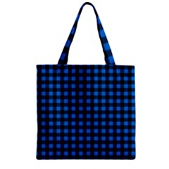 Lumberjack Fabric Pattern Blue Black Zipper Grocery Tote Bag by EDDArt