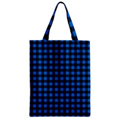 Lumberjack Fabric Pattern Blue Black Zipper Classic Tote Bag by EDDArt