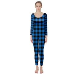 Lumberjack Fabric Pattern Blue Black Long Sleeve Catsuit by EDDArt