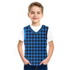 Lumberjack Fabric Pattern Blue Black Kids  Sportswear by EDDArt