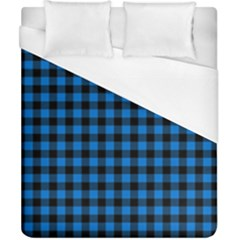 Lumberjack Fabric Pattern Blue Black Duvet Cover (california King Size) by EDDArt