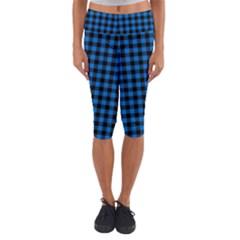 Lumberjack Fabric Pattern Blue Black Capri Yoga Leggings by EDDArt
