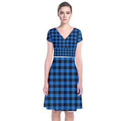 Lumberjack Fabric Pattern Blue Black Short Sleeve Front Wrap Dress by EDDArt
