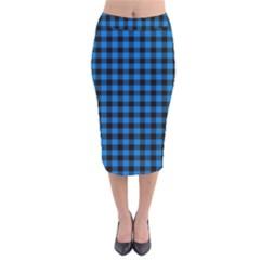 Lumberjack Fabric Pattern Blue Black Velvet Midi Pencil Skirt by EDDArt