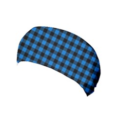 Lumberjack Fabric Pattern Blue Black Yoga Headband by EDDArt
