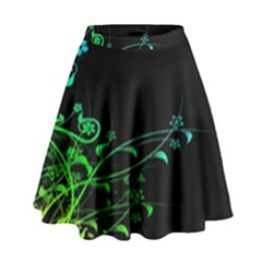 Abstract Colorful Plants High Waist Skirt by Vayuart