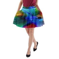 Abstract Color Plants A-Line Pocket Skirt by Vayuart