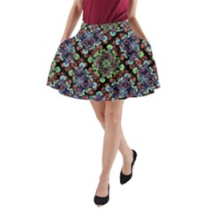 Colorful Floral Collage Pattern A Line Pocket Skirt by dflcprintsclothing
