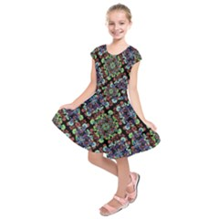 Colorful Floral Collage Pattern Kids  Short Sleeve Dress by dflcprintsclothing