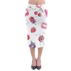 Hand Painted Summer Background  Midi Pencil Skirt by TastefulDesigns