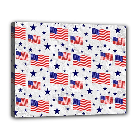 Flag Of The Usa Pattern Canvas 14  X 11  by EDDArt