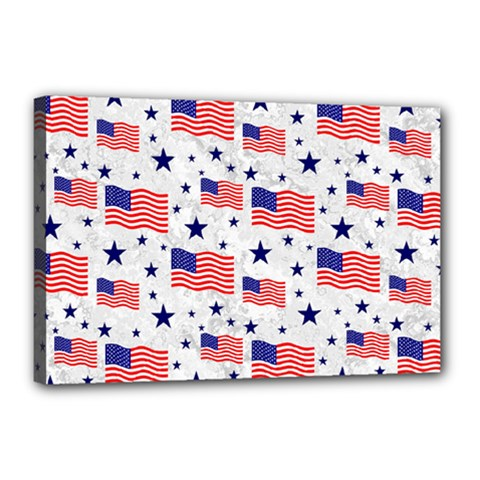 Flag Of The Usa Pattern Canvas 18  X 12  by EDDArt