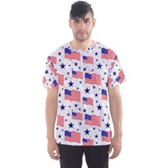 Flag Of The Usa Pattern Men s Sport Mesh Tee by EDDArt