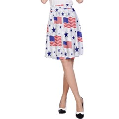 Flag Of The Usa Pattern A Line Skirt by EDDArt