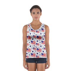 Flag Of The Usa Pattern Women s Sport Tank Top  by EDDArt