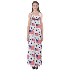 Flag Of The Usa Pattern Empire Waist Maxi Dress by EDDArt