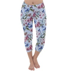 Watercolor Flowers Butterflies Pattern Blue Red Capri Winter Leggings  by EDDArt