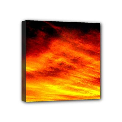 Black Yellow Red Sunset Mini Canvas 4  X 4  by Costasonlineshop
