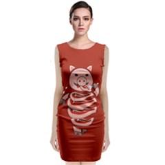Red Stupid Self Eating Gluttonous Pig Sleeveless Velvet Midi Dress by CreaturesStore