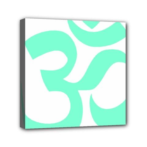 Hindu Om Symbol (cyan Blue) Mini Canvas 6  X 6  by abbeyz71