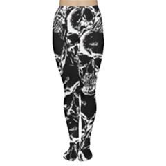 Skulls pattern Women s Tights by ValentinaDesign